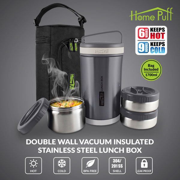 HomePuff Vaccum Insulated Stainless Steel 3 Container Leak Proof Lunch Box